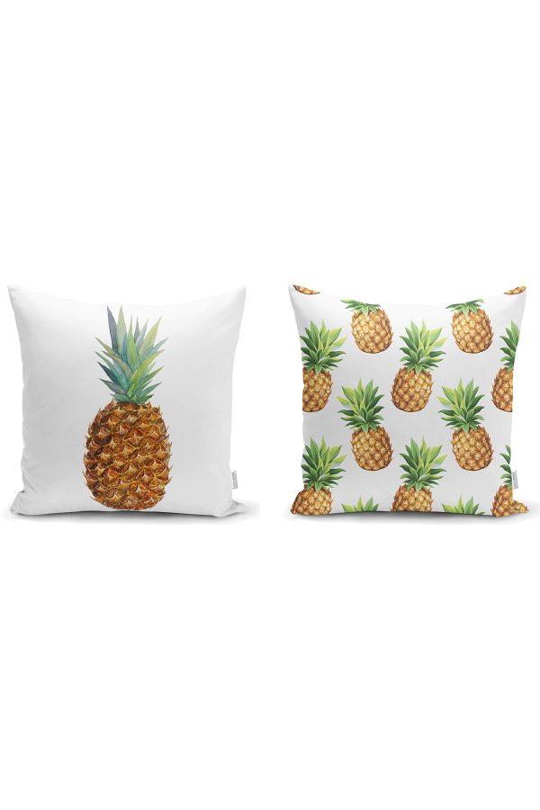 Beyaz Zemin Renkli Ananas 2'li Yastık Kırlent Kılıf Seti Realhomes