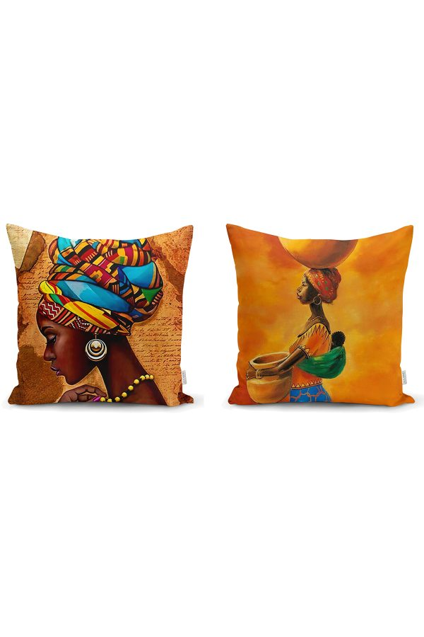 Afrika Kadınlar 2'li Yastık Kırlent Kılıf Seti Realhomes