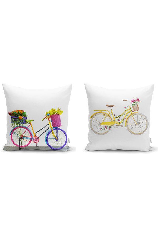 Renkli Bisikletler 2'li Yastık Kırlent Kılıf Seti Realhomes