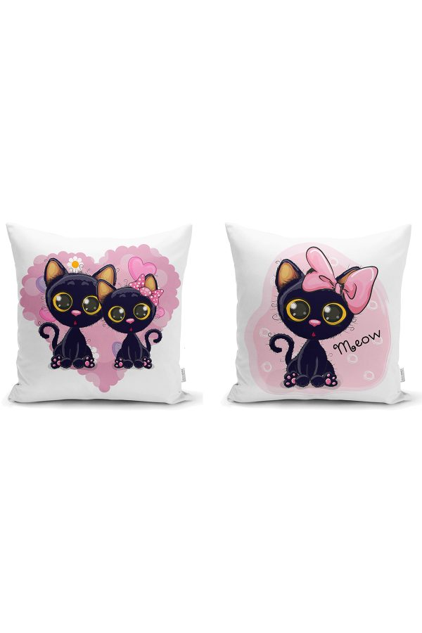 Sevimli Kediler 2'li Yastık Kırlent Kılıf Seti Realhomes