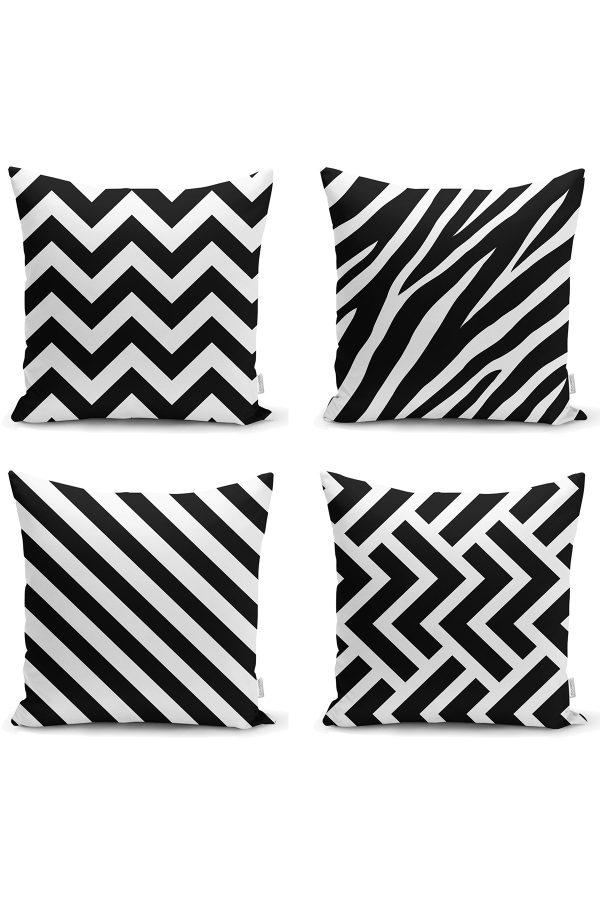 Siyah Beyaz Geometrik 4'lü Yastık Kırlent Kılıf Seti Realhomes
