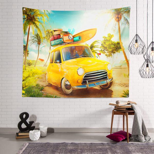 Summer Taksi 3D Duvar Halısı Realhomes