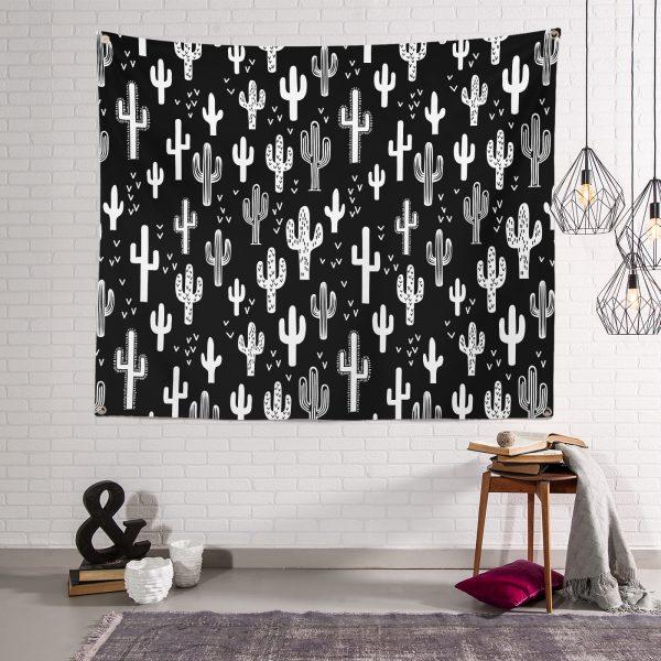 Siyah Zemin Beyaz Kaktüs Desenli Modern Tapestry Duvar Halısı Realhomes