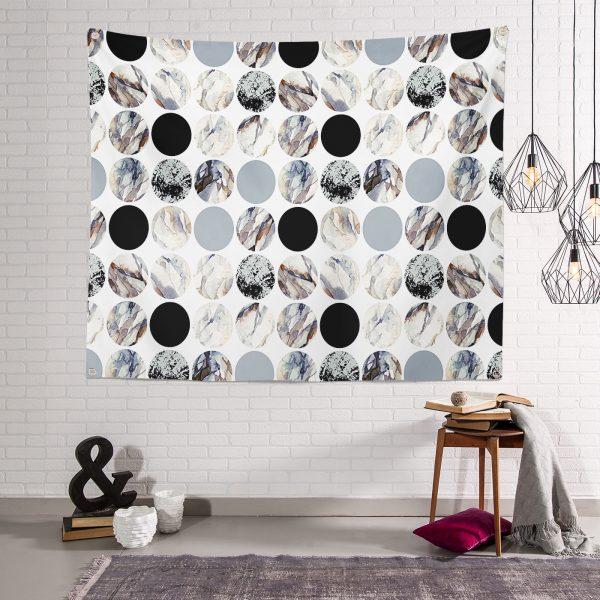 RealHomes Yuvarlak Desenli Modern  Tapestry Duvar Örtüsü Realhomes