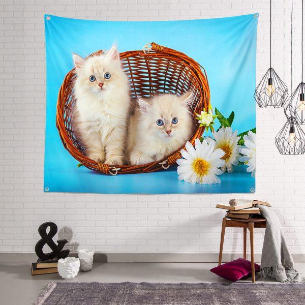 Kedili Dijital Baskılı Duvar Örtüsü Realhomes
