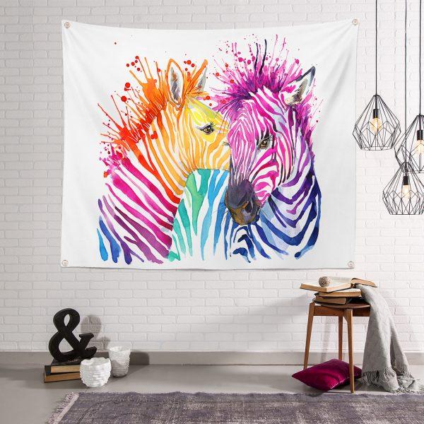 Rengarenk Zebra Desenli Tapestry Duvar Örtüsü Realhomes