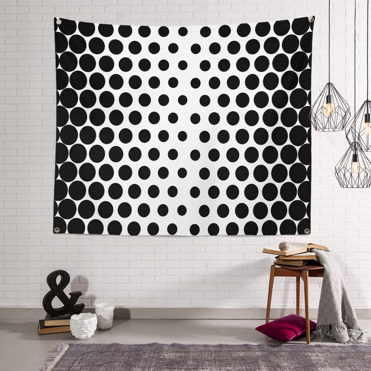 RealHomes Siyah Beyaz İri Puantiyeli Tapestry Duvar Örtüsü Realhomes