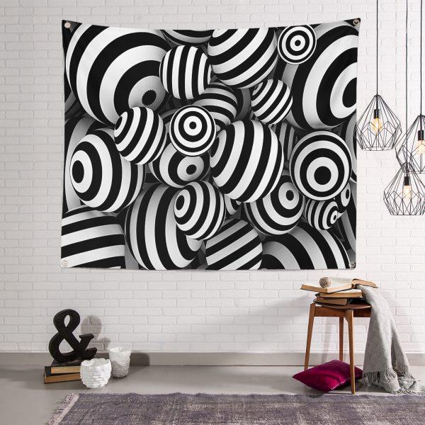 Siyah Beyaz 3 Boyutlu Küreler Dijital Baskılı Modern Tasarım Tapestry Duvar Örtüsü Realhomes