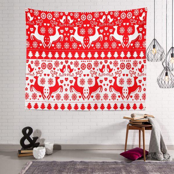 Kırmızı Beyaz Yılbaşı Geyikleri Dijital Baskılı Modern Tasarım Tapestry Duvar Örtüsü Realhomes