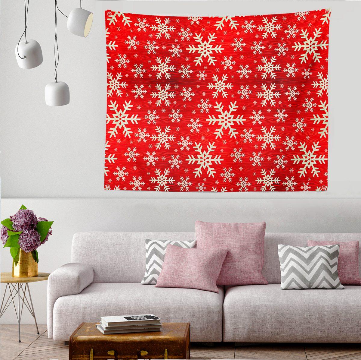 Beyaz Kar Taneleri Motifli Dijital Baskılı Tapestry Duvar Örtüsü Realhomes