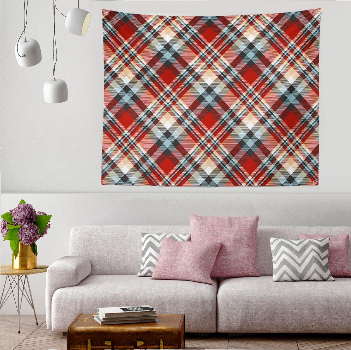 Kırmızı Siyah Beyaz Ekose Desenli Modern  Tapestry Duvar Örtüsü Realhomes