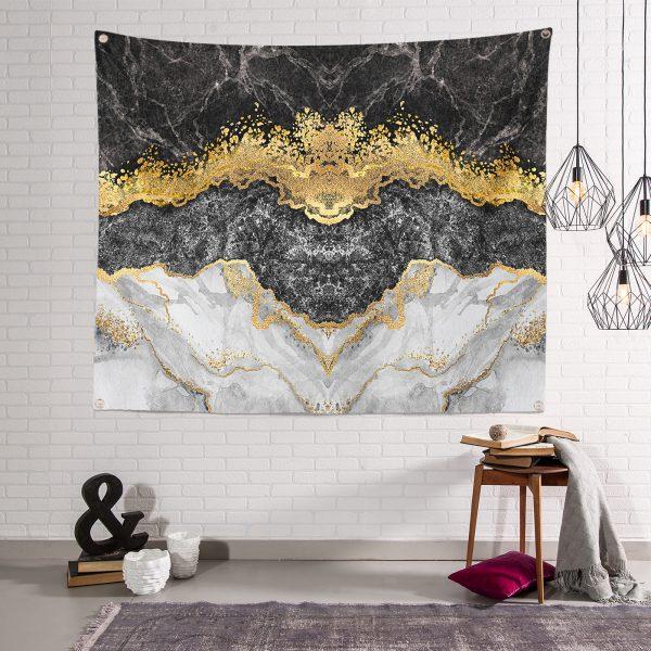 Modern Siyah Beyaz Altın Mermer Motifli Dijital Baskılı Tapestry Duvar Örtüsü Realhomes