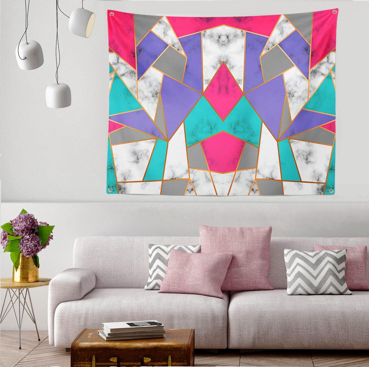 Geometrik Şekilli Mermer Baskılı Modern Dijital Baskılı Tapestry Duvar Örtüsü Realhomes