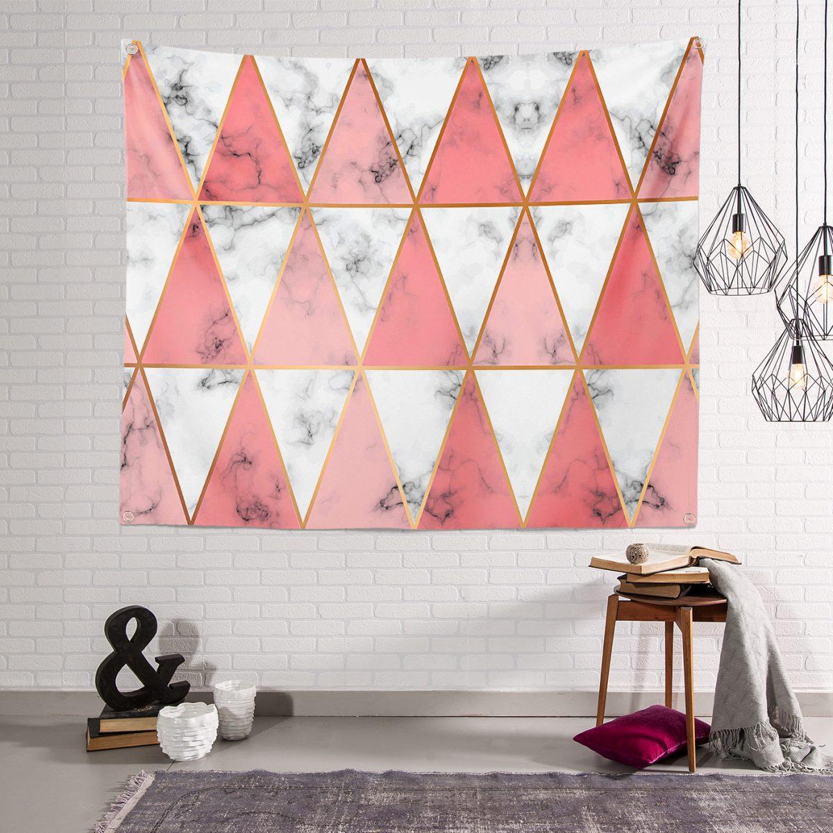 Geometrik Üçgen Şekilli Mermer Desenli Fermuarlı Kumaş Çanta Tapestry Duvar Örtüsü Realhomes
