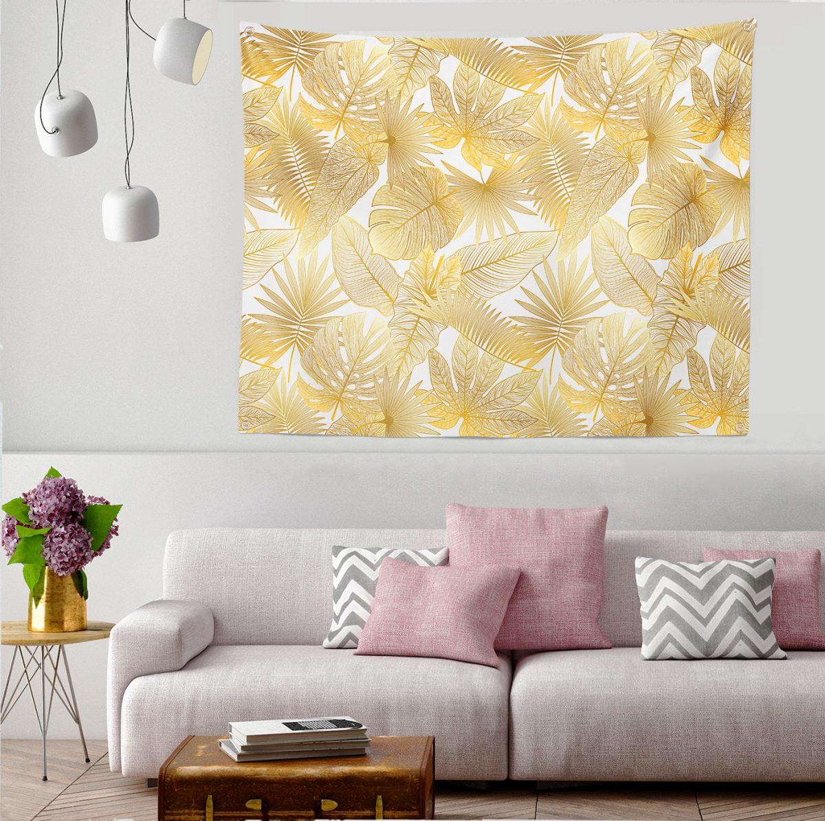 Vizon Renk Amazon Yaprakları Temalı Modern Tapestry Duvar Örtüsü Realhomes