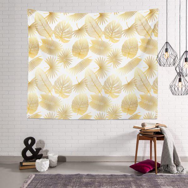 Beyaz Zeminde Vizon Yapraklar Dijital Baskılı Tapestry Duvar Örtüsü Realhomes