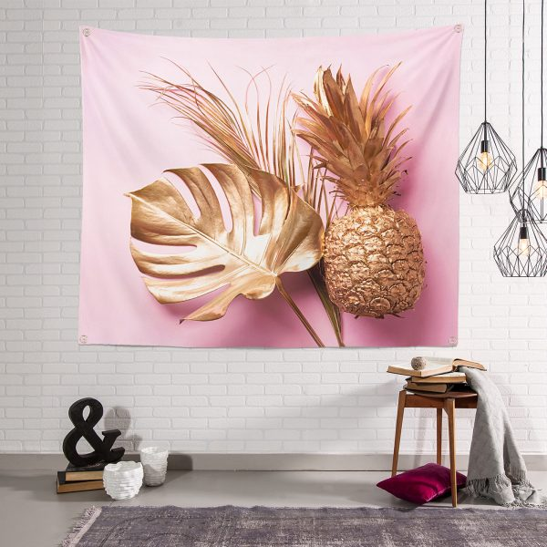 3D Yaprak ve Ananas Desenli Özel Tasarım Dijital Baskılı Tapestry Duvar Örtüsü Realhomes