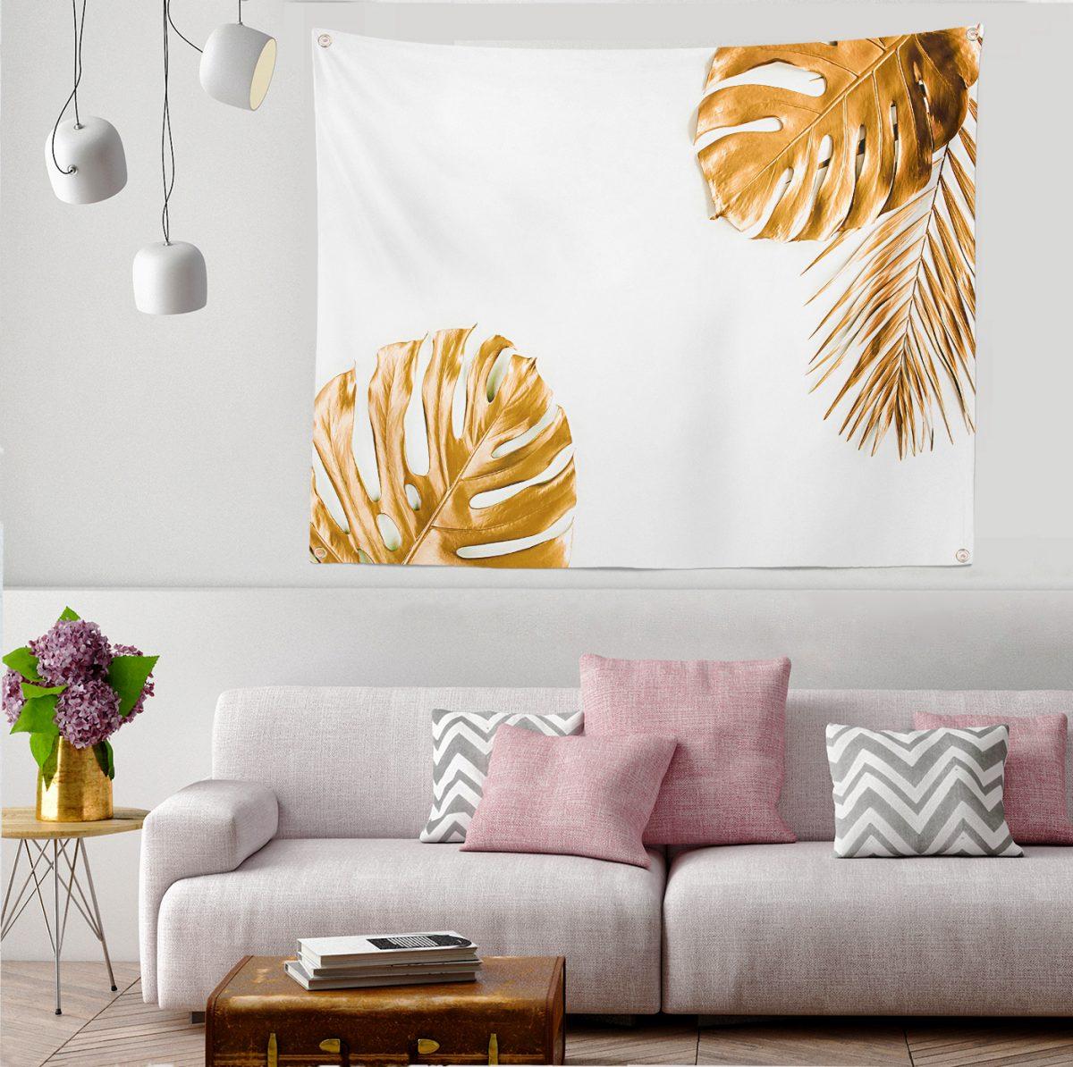 3D Altın Renkli Palmiye Yaprakları Desenli Dijital Baskılı Tapestry Duvar Örtüsü Realhomes