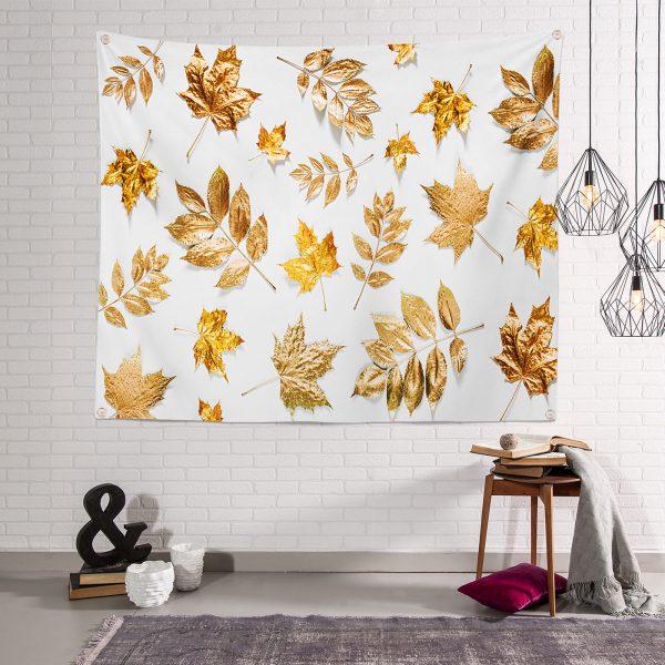 3D Altın Renkli Yapraklar Özel Tasarım Modern Tapestry Duvar Örtüsü Realhomes