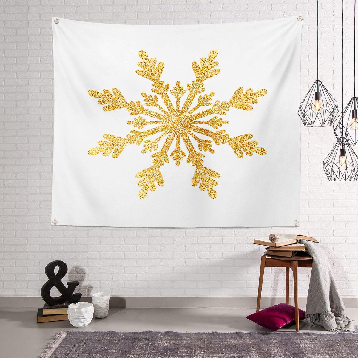 Altın Görünümlü Kar Tanesi Desenli 3D Modern Dijital Baskılı Tapestry Duvar Örtüsü Realhomes