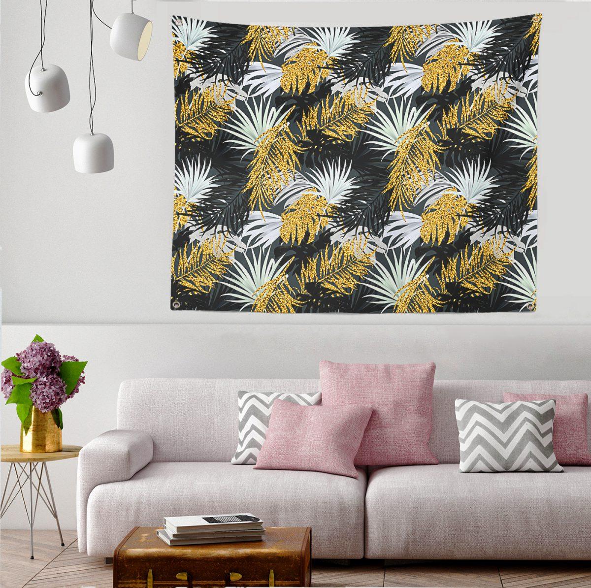 Siyah Zeminde Palmiye Yaprakları Özel Tasarım Dijital Baskılı Tapestry Duvar Örtüsü Realhomes
