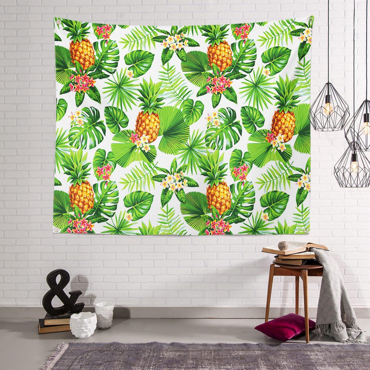 Summer Tropikal Desenli Özel Tasarımlı Dijital Baskılı Tapestry Duvar Örtüsü Realhomes