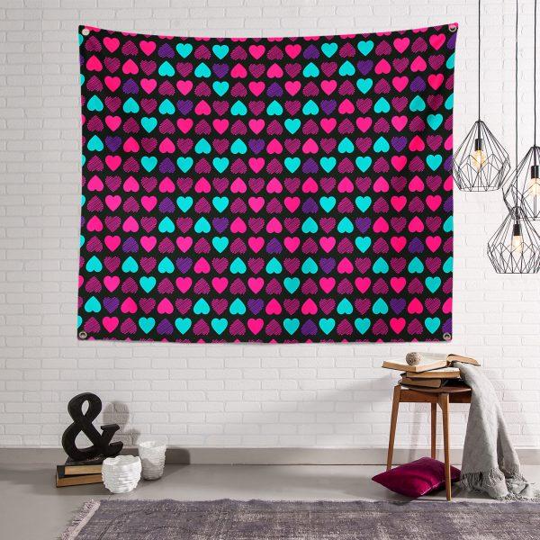 Siyah Zeminde Kalpler Özel Tasarımlı Tapestry Duvar Örtüsü Realhomes