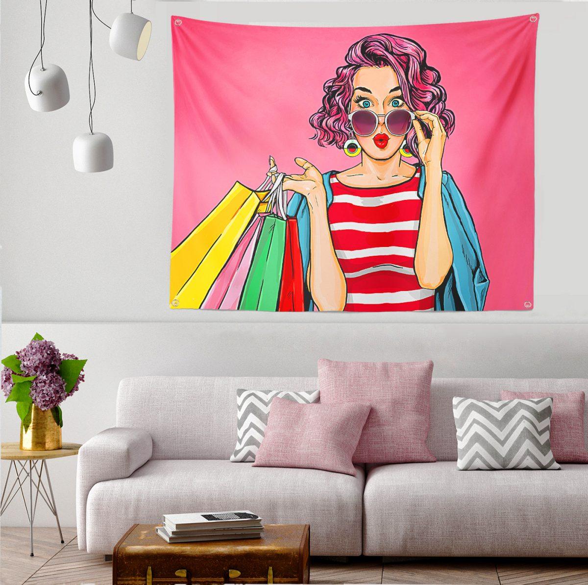 Pembe Zeminli Popart Desenli Tapestry Duvar Örtüsü Realhomes