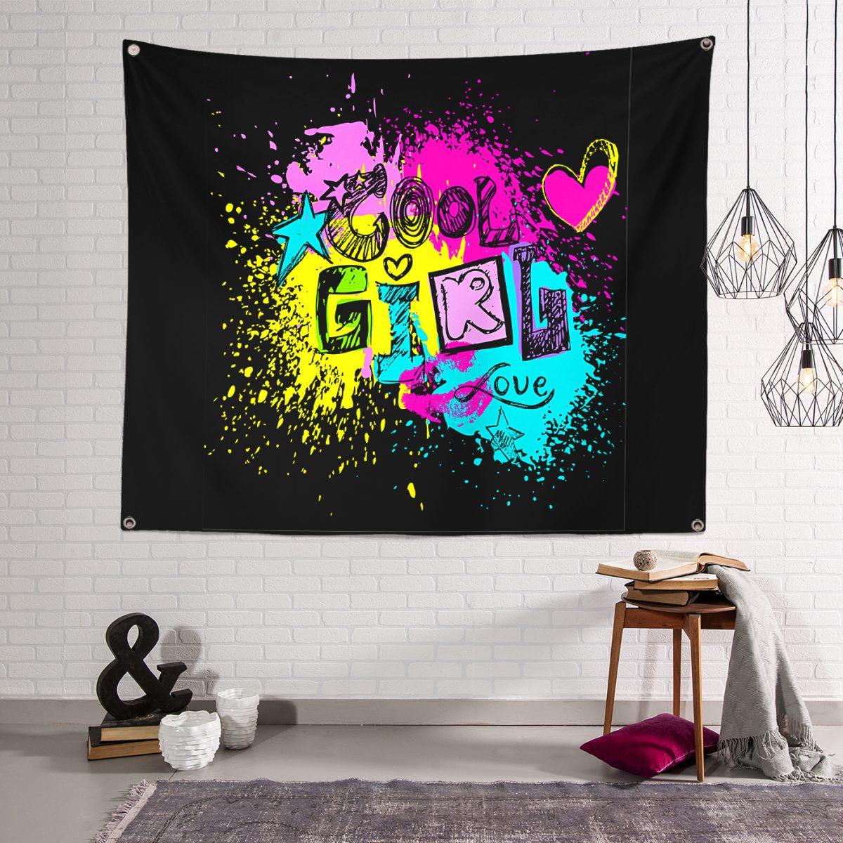 Cool Girl Dijital Baskılı Özel Tasarımlı Dijital Baskılı Tapestry Duvar Örtüsü Realhomes