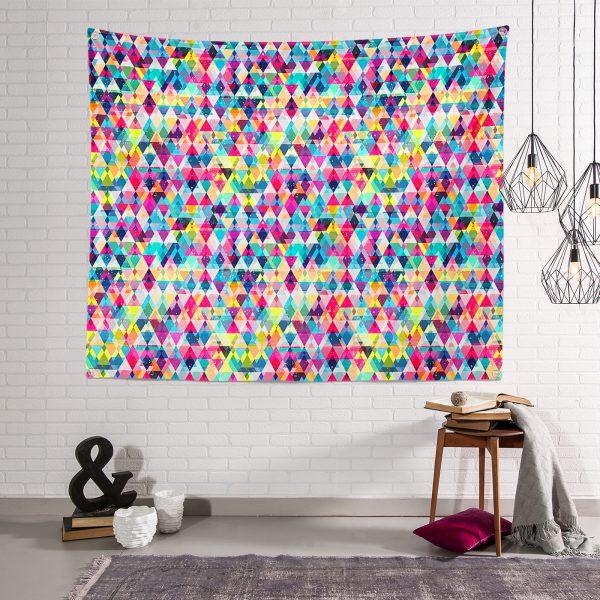 Renkli Geometrik Şekiller Tasarımlı Dijital Baskılı Tapestry Duvar Örtüsü Realhomes