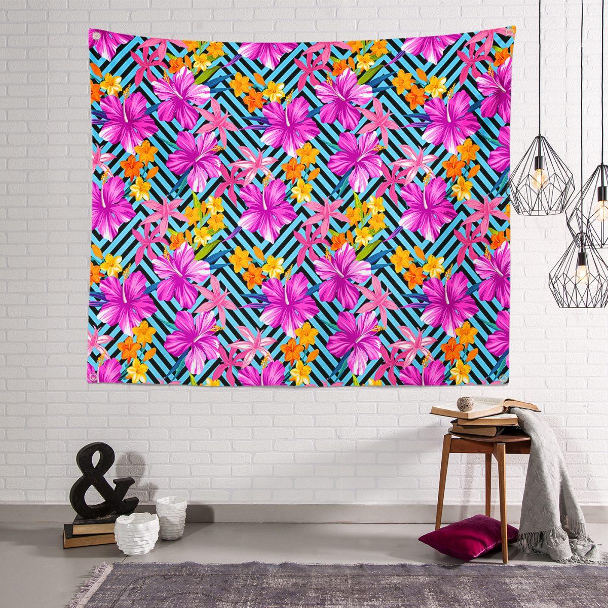 Geometrik Zeminde Mor Çiçekler Özel Tasarımlı Tapestry Duvar Örtüsü Realhomes