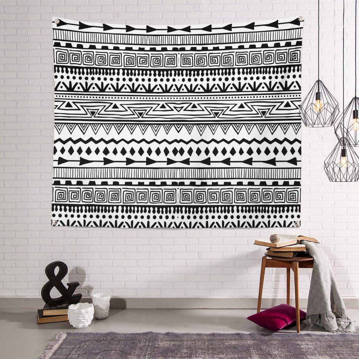 Beyaz Zeminde Yıldızlar Desenli Dijital Baskılı Tapestry Duvar Örtüsü Realhomes