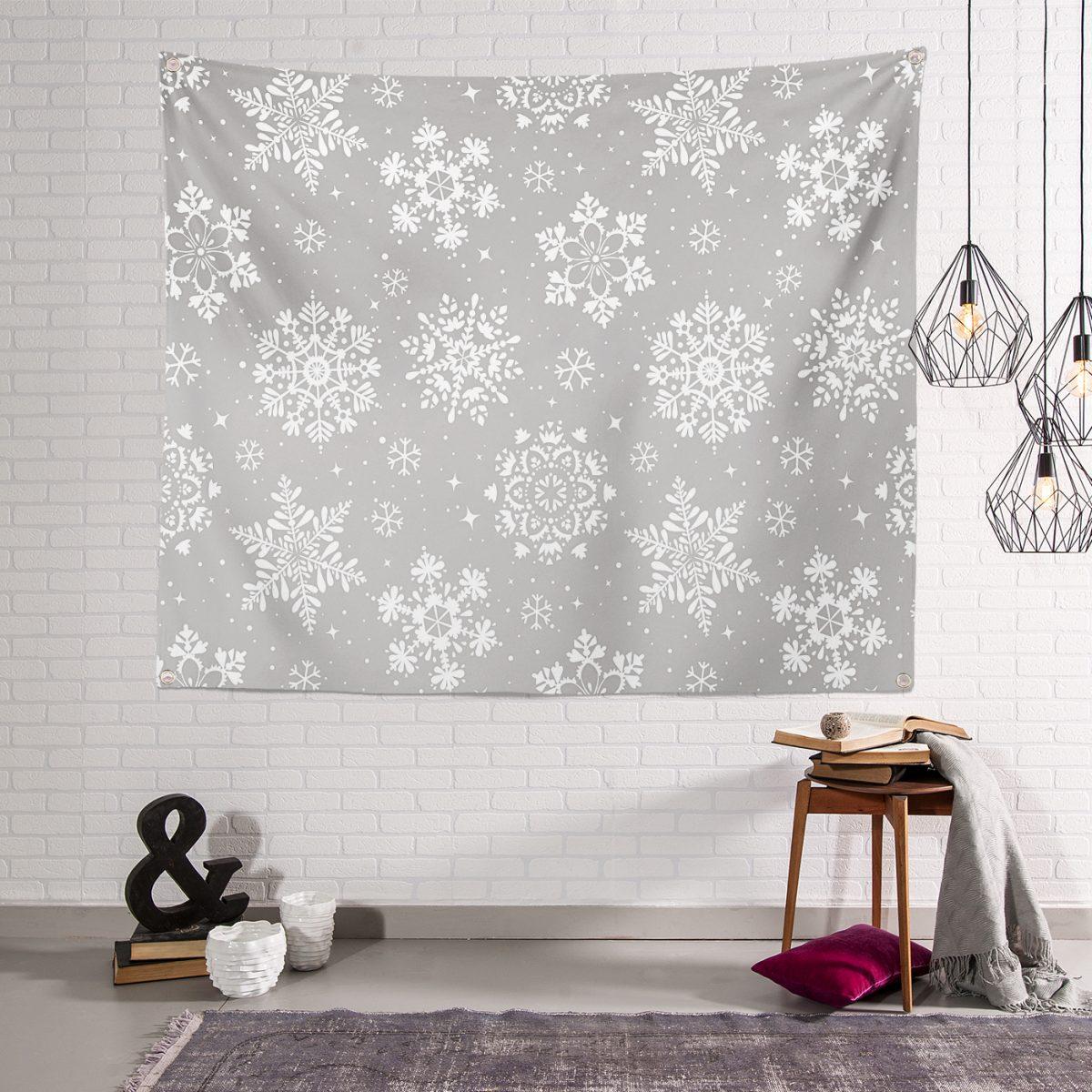 Gri Zeminli Kar Taneleri Temalı Modern Tasarım Dekoratif  Tapestry Duvar Örtüsü Realhomes