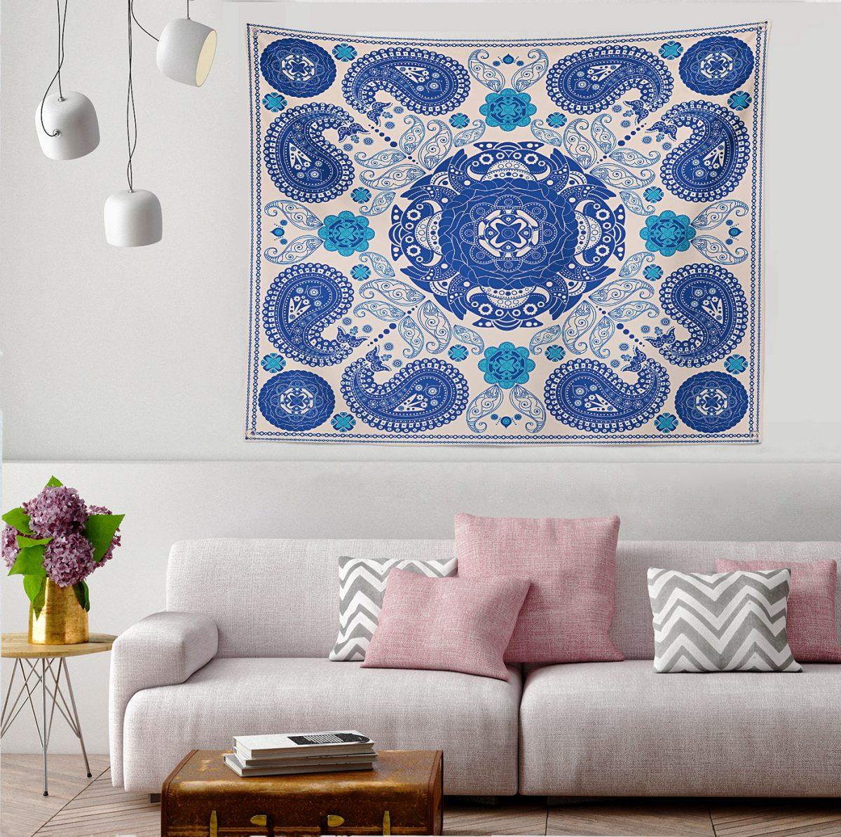 Realhomes Mavi Renkli Etnik Motifler Dijital Baskılı Tapestry Duvar Örtüsü Realhomes
