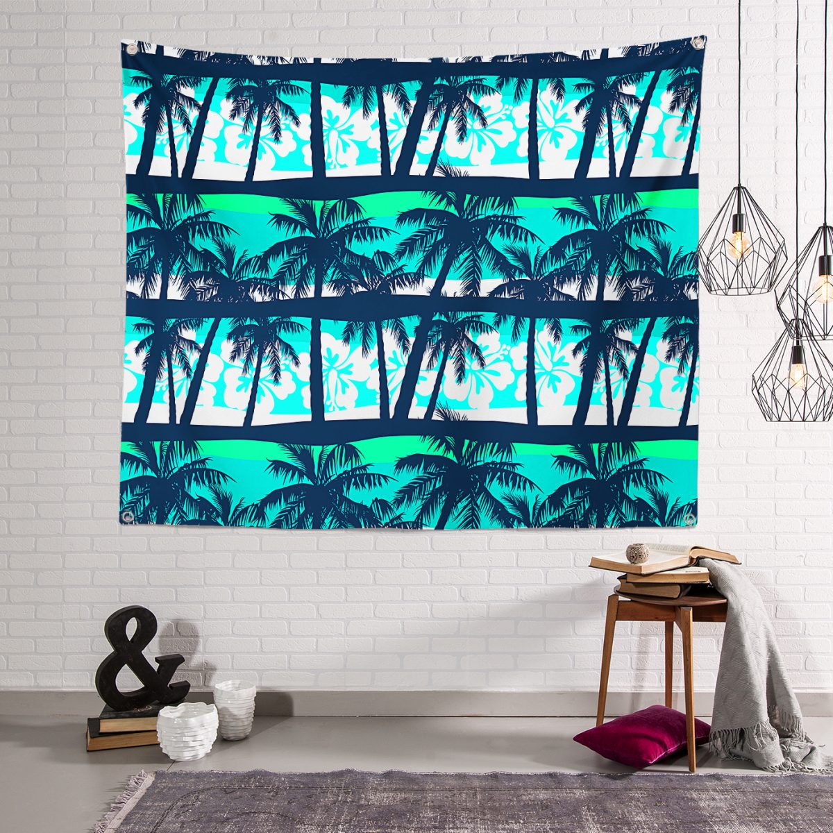 Palmiye Desenli Dijital baskılı Modern RealHomes Tapestry Duvar Örtüsü Realhomes