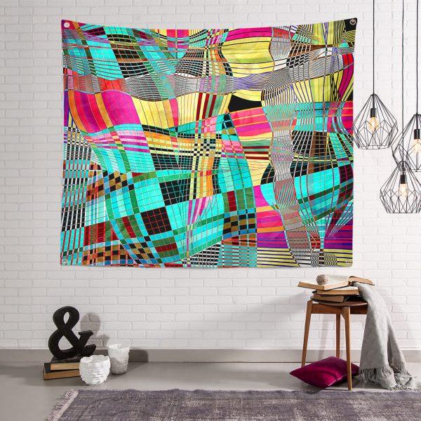 Realhomes Renkli Mozaik Motifli Dijital Baskılı Modern Tasarım Tapestry Duvar Örtüsü Realhomes