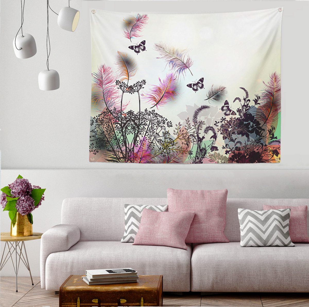 Realhomes Moda Butterfly Dijital Baskılı Modern Tapestry Duvar Örtüsü Realhomes