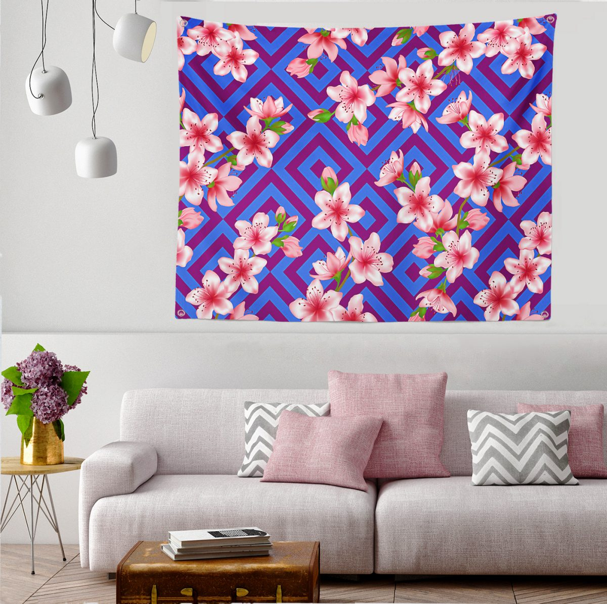 Realhomes Moda Multi Color Özel Tasarım Dijital Baskılı Tapestry Duvar Örtüsü Realhomes