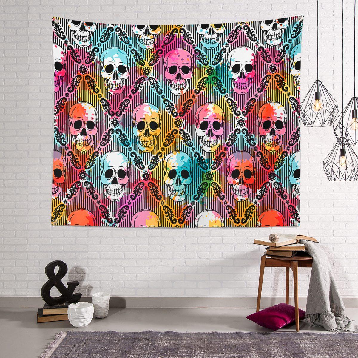 Realhomes Moda Renkli Zeminde Kurukafa Motifli Dijital Baskılı Modern Tapestry Duvar Örtüsü Realhomes