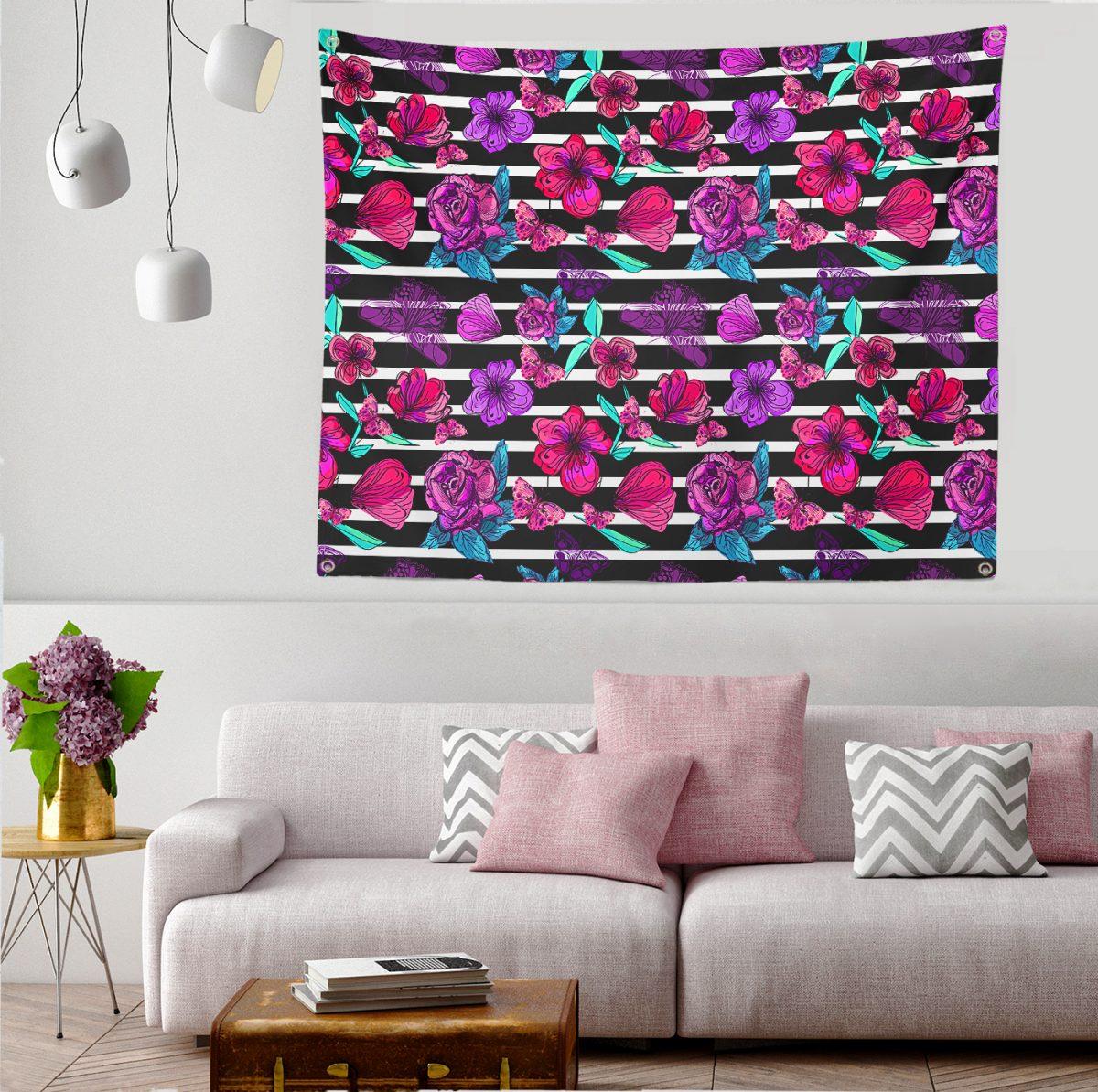 Çizgili Zeminde Renkli Çiçekler Dijital Baskılı Tapestry Duvar Örtüsü Realhomes