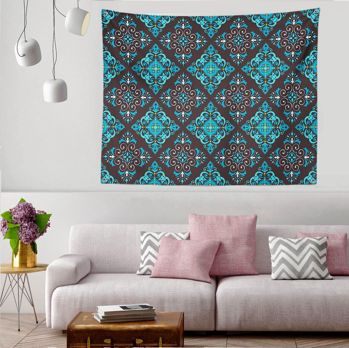 Modern Çini Tasarımlı Dijital Baskılı Tapestry Duvar Örtüsü Realhomes