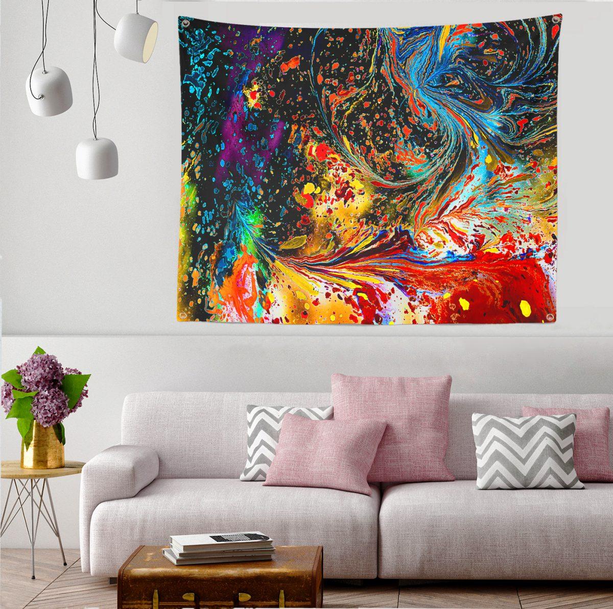 Sulu Boya Desenli Özel Tasarım Tapestry Duvar Örtüsü Realhomes