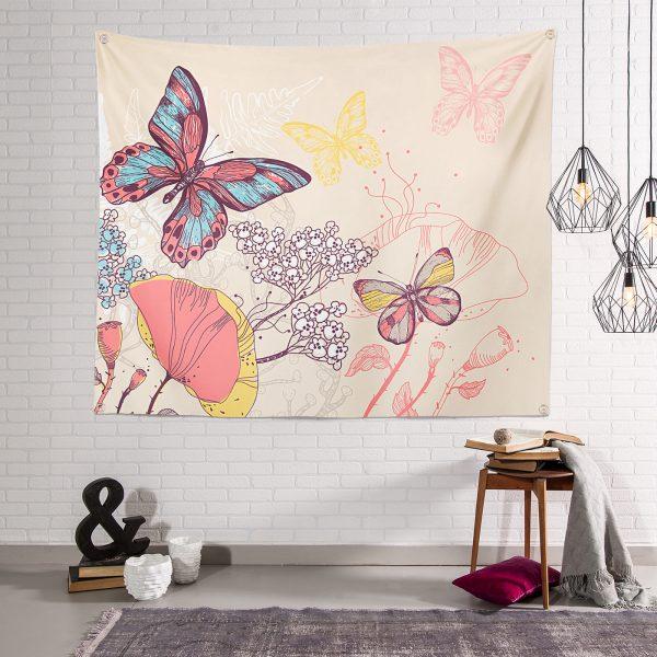Modern Kelebek Desenli  Duvar Halısı Realhomes