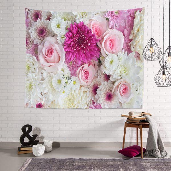 Modern Çiçek Demeti Duvar Halısı Realhomes