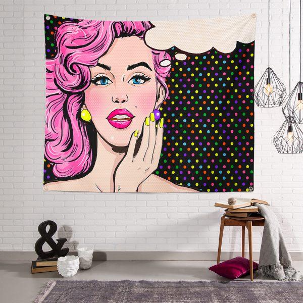 Pop Art Retro Desenli Modern Duvar Halısı Tapestry Realhomes