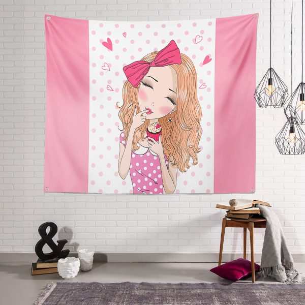 Fashion Girl Dijital Baskılı Modern Tasarım Tapestry Duvar Örtüsü Realhomes