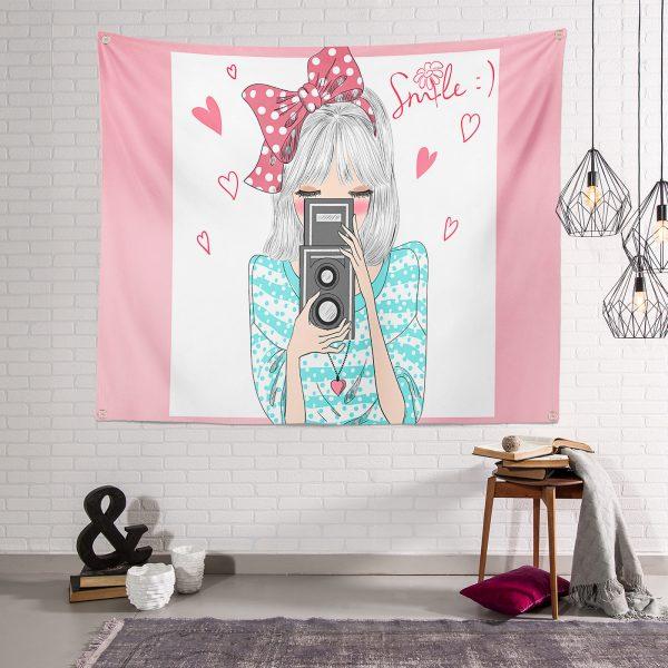 Fashion Girl Dijital Baskılı Modern Tapestry Duvar Örtüsü Realhomes