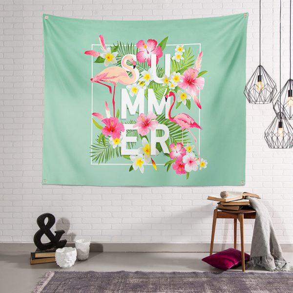 Summer Flamingo Desen Dijital Baskılı Modern  Tapestry Duvar Halısı Realhomes
