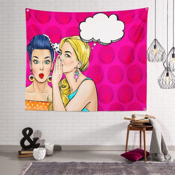 Fashion Girl Dijital Baskılı Modern Özel Tasarım Tapestry Duvar Örtüsü Realhomes