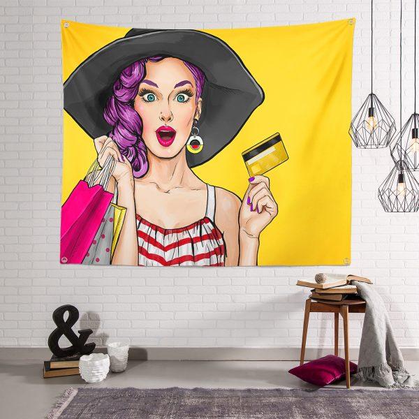 Pop Art Resimli Dijital Baskılı Dekoratif Modern Tasarım Tapestry Duvar Halısı Realhomes